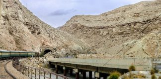 train is entering in tunnel at Bolan Balochistan.