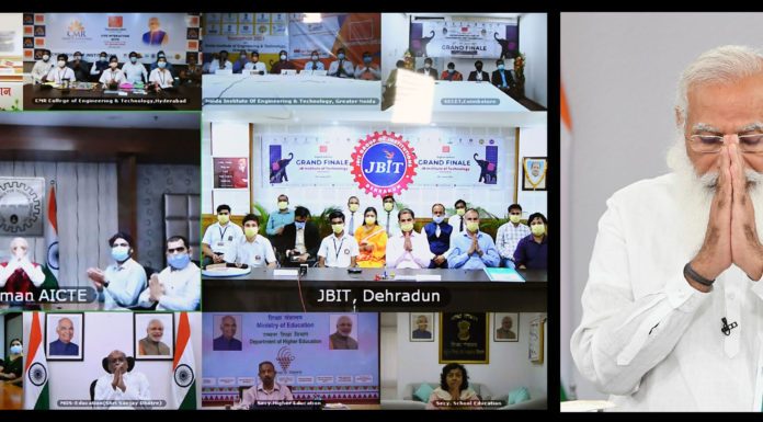 The Prime Minister, Shri Narendra Modi interacts with the participants of Toycathon-2021, through video conferencing, in New Delhi on June 24, 2021.