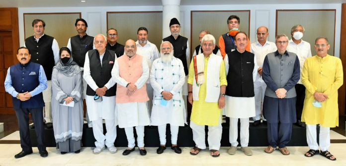 The Prime Minister, Shri Narendra Modi in a group photograph with the various political leaders from Jammu and Kashmir, in New Delhi on June 24, 2021.