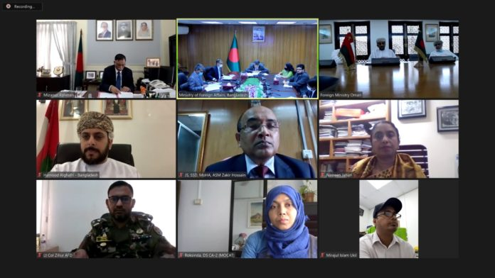 The First ever Foreign Office Consultation (FOC) between Bangladesh and Oman was held on virtual platform today (08 June 2021)