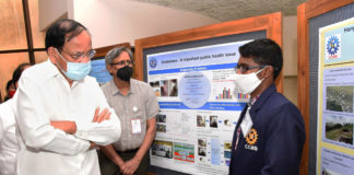 The Vice President, Shri M. Venkaiah Naidu interacting with a research scholar, at CCMB-LaCONES, in Hyderabad on July 02, 2021.