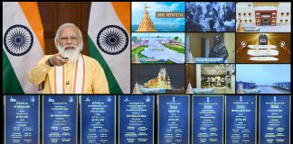 The Prime Minister, Shri Narendra Modi inaugurates and lays the foundation stone of multiple projects in Somnath, Gujarat through video conferencing, in New Delhi on August 20, 2021.