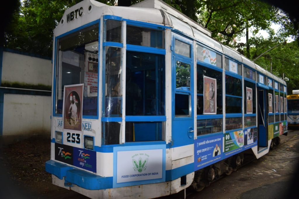 As part of Azadi ka Amrit Mahotsav, Food Corporation of India (FCI) decorated a tram with displays depicting the working of the Corporation and the different welfare programmes orchestrated by FCI. It also displayed a special segment on the unsung heroes of India's struggle for Independence.