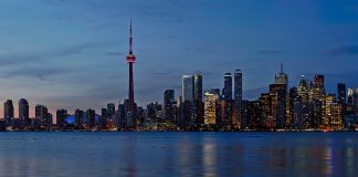Toronto skyline at dusk, from Toronto Harbour looking north,