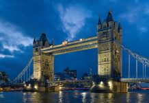 Tower Bridge as viewed from the North-East near St Katherine Dock. by Wikipedia