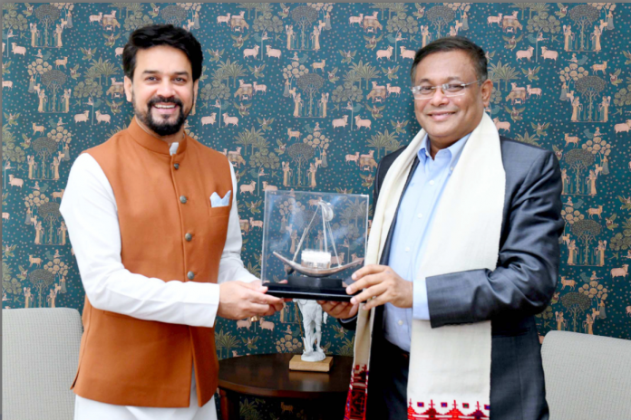 The Minister for Information & Broadcasting of Bangladesh, Dr. Hasan Mahmud meeting the Union Minister for Information & Broadcasting, Youth Affairs and Sports, Shri Anurag Singh Thakur, in New Delhi on September 07, 2021