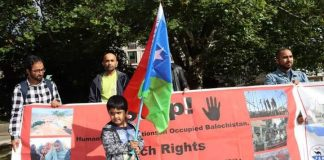 """The Free Balochistan Movement, (FBM) Germany Branch, staged a protest rally on Saturday against the murder of previously disappeared Baloch in fake encounters at the hands of the so call """"Counter-Terrorism Department"""" (CTD) of Pakistani forces in Balochistan"""