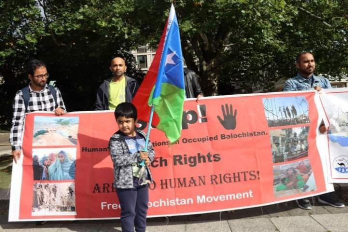 The Free Balochistan Movement, (FBM) Germany Branch, staged a protest rally on Saturday against the murder of previously disappeared Baloch in fake encounters at the hands of the so call