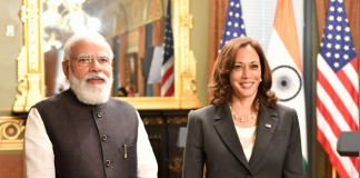 The Prime Minister, Shri Narendra Modi in a Bilateral Meeting with the Vice President of the United States of America, Ms. Kamala Harris, in Washington DC, USA on September 23, 2021.
