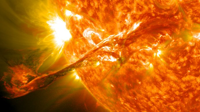 On August 31, 2012 a long filament of solar material that had been hovering in the Sun's outer atmosphere, the corona, erupted at 4:36 p.m. EDT