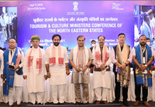 The Union Minister for Culture, Tourism and Development of North Eastern Region (DoNER), Shri G. Kishan Reddy, the Minister of State for Parliamentary Affairs and Culture, Shri Arjun Ram Meghwal, the Chief Minister of Assam, Shri Himanta Biswa Sarma, the Minister of State for Defence and Tourism, Shri Ajay Bhatt at the inaugural session of the Tourism & Culture Ministers Conference of the North Eastern States, in Guwahati, Assam on September 13, 2021. The Secretary, Ministry of Tourism, Shri Arvind Singh and other dignitaries are also seen.
