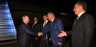 Arrival in Amur Region. With Deputy Prime Minister and Presidential Plenipotentiary Envoy to the Far Eastern Federal District Yury Trutnev (left), Deputy Prime Minister Marat Khusnullin, General Director of the Roscosmos State Corporation for Space Activities Dmitry Rogozin and Amur Region Governor Vasily Orlov (right).