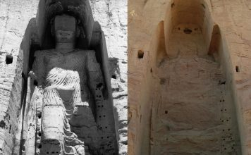 Taller, 55 meter Buddha in 1963 and in 2008 after destruction by Wikipedia