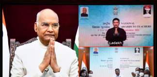 The President, Shri Ram Nath Kovind virtually presents the National Award to Teachers 2021, on the occasion of Teachers' Day, in New Delhi on September 05, 2021. The Union Minister for Education, Skill Development and Entrepreneurship, Shri Dharmendra Pradhan and other dignitaries are also seen.