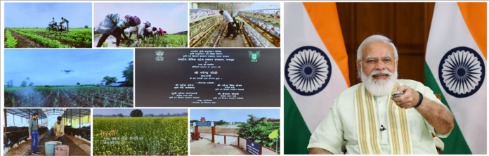 The Prime Minister, Shri Narendra Modi dedicates to the Nation 35 crop varieties with special traits, through video conferencing, in New Delhi on September 28, 2021.