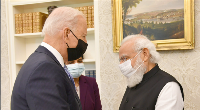 The Prime Minister, Shri Narendra Modi in a Bilateral Meeting with the President of the United States of America, Mr. Joe Biden, at White House, in Washington DC, USA on September 24, 2021