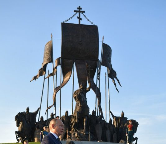 The unveiling ceremony of the memorial Prince Alexander Nevsky and his Retinue in the Pskov Region.