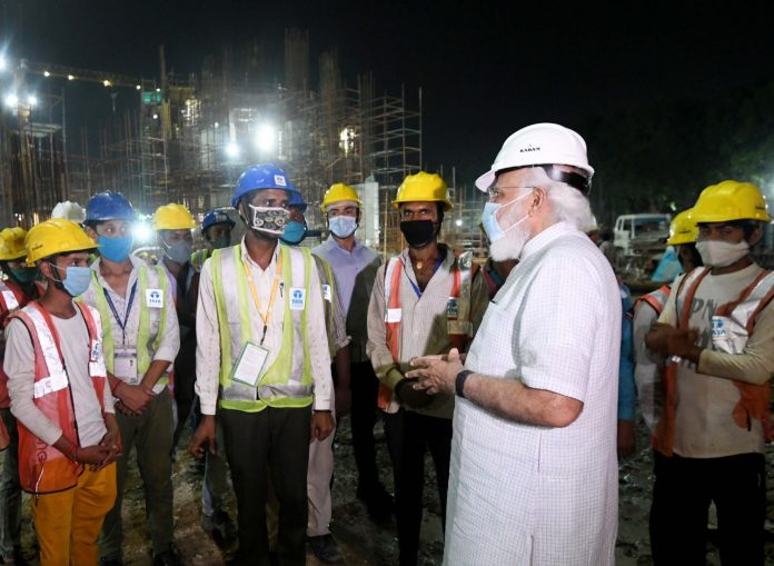 PM conducts on-site inspection and reviews ongoing construction work of new Parliament building