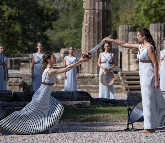 Olympic flame for Beijing 2022 lit in Ancient Olympiain Greece
