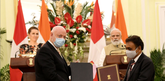 The Prime Minister, Shri Narendra Modi and the Prime Minister of Kingdom of Denmark, Ms. Mette Frederiksen witnessing the exchange of agreements between India and Denmark, at Hyderabad House, in New Delhi on October 09, 2021