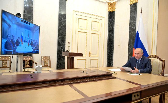During a meeting with heads of security agencies of CIS countries (via videoconference).