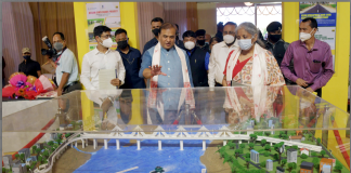 The Union Minister for Finance and Corporate Affairs, Smt. Nirmala Sitharaman visiting the Exhibition on Externally Aided Projects for the State, in Guwahati, Assam on October 07, 2021. The Chief Minister of Assam, Shri Himanta Biswa Sarma is also seen.