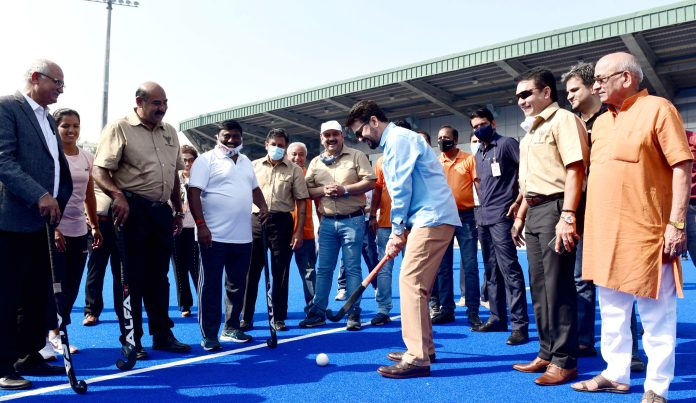 The Union Minister for Information & Broadcasting, Youth Affairs and Sports, Shri Anurag Singh Thakur launching the 'Delhi Hockey Weekend League 2021-22', at Major Dhyanchand National Stadium, in New Delhi on October 10, 2021