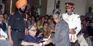 The well-known political cartoonist for the 'Times of India' Shri R.K. Laxman receives the Padma Vibhushan award from the President Dr. A.P.J. Abdul Kalam in New Delhi on March 28, 2005 by Wikipedia