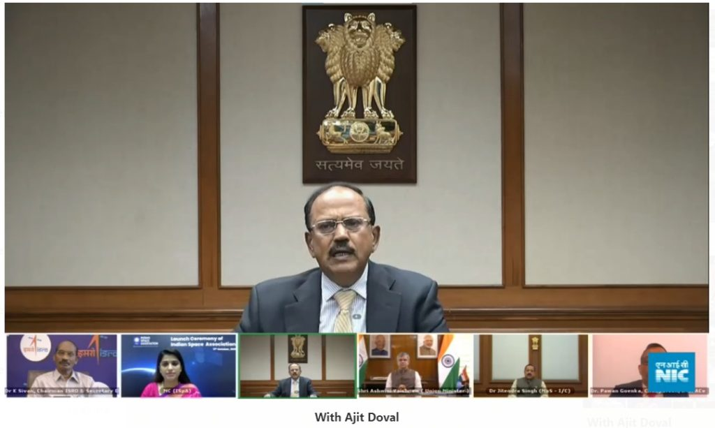 Shri Ajit Davol at The Prime Minister, Shri Narendra Modi addressing at the launch of the Indian Space Association (ISpA), through video conferencing, in New Delhi on October 11, 2021