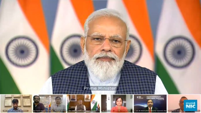 The Prime Minister, Shri Narendra Modi addressing at the launch of the Indian Space Association (ISpA), through video conferencing, in New Delhi on October 11, 2021