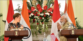 The Prime Minister, Shri Narendra Modi and the Prime Minister of Kingdom of Denmark, Ms. Mette Frederiksen at the Joint Press Statements, at Hyderabad House, in New Delhi on October 09, 2021.