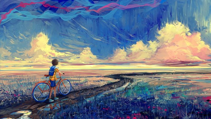 Boy with Bicycle from https://www.wallpaperflare.com/